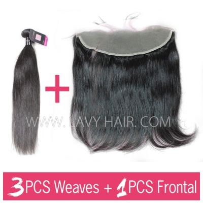 Superior Grade mix 3 bundles with 13*4 lace frontal closure Indian Straight Virgin Human hair extensions