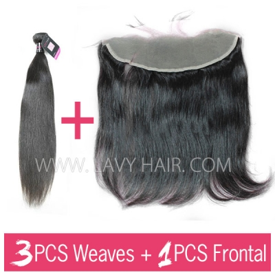 Superior Grade mix 3 bundles with 13*4 lace frontal closoure Malaysian Straight Virgin Human hair extensions
