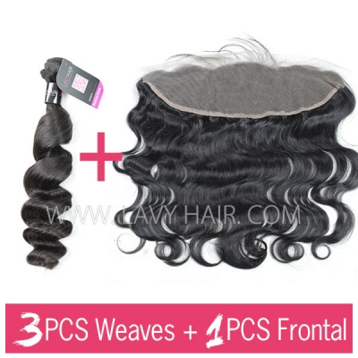 Superior Grade mix 3 bundles with 13*4 lace frontal closure Malaysian Loose Wave Virgin Human Hair Extensions