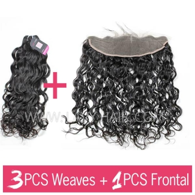 Superior Grade mix 3 bundles with 13*4 lace frontal closure Indian Natural Wave Virgin Human hair extensions