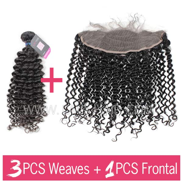 Superior Grade mix 3 bundles with 13*4 lace frontal closoure Peruvian Deep Curly Virgin Human Hair Extensions