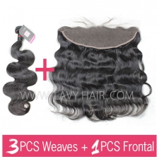 Superior Grade mix 3 bundles with 13*4 lace frontal closure Cambodian Body wave Virgin Human hair extensions