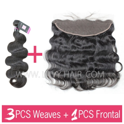 Superior Grade mix 3 bundles with 13*4 lace frontal closoure Malaysian body wave Virgin Human hair extensions