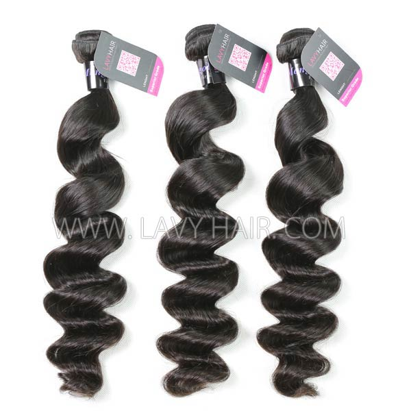 Superior Grade mix 3 bundles with 13*4 lace frontal closoure Mongolian loose wave Virgin Human hair extensions