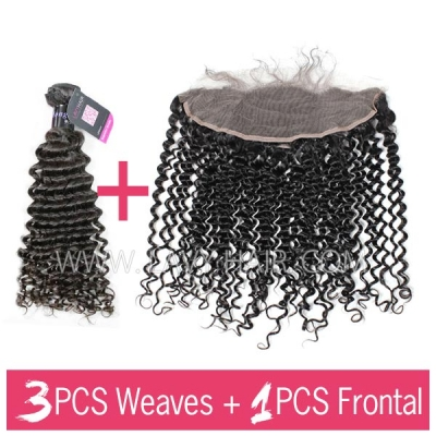 Superior Grade mix 3 bundles with 13*4 lace frontal closoure Mongolian Deep Curly Virgin Human Hair Extensions