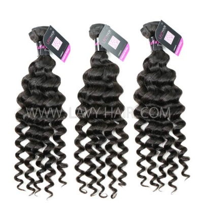 Superior Grade mix 3 bundles with 13*4 lace frontal closure Malaysian Deep Wave Virgin Human Hair Extensions