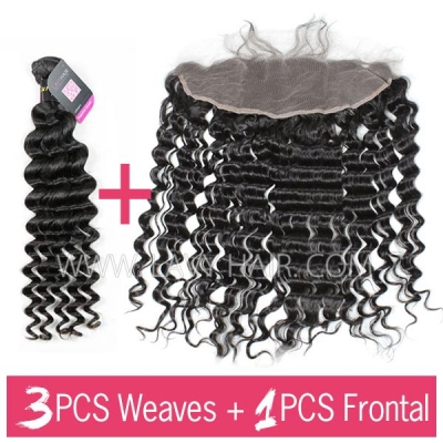 Superior Grade mix 3 bundles with 13*4 lace frontal closoure European Deep Wave Virgin Human Hair Extensions