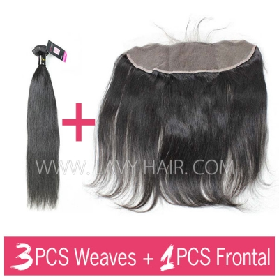 Superior Grade 3 bundles with 13*4 lace frontal closure European Straight Virgin Human Hair Extensions