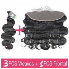 Regular Grade mix 3 bundles with 13*4 lace frontal closure Peruvian Body wave Virgin Human hair extensions