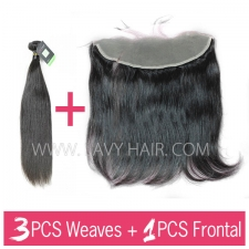 Regular Grade mix 3 bundles with 13*4 lace frontal closure European Straight Virgin Human hair extensions