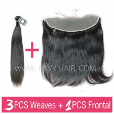 Regular Grade mix 3 bundles with 13*4 lace frontal closure Mongolian Straight Virgin Human hair extensions