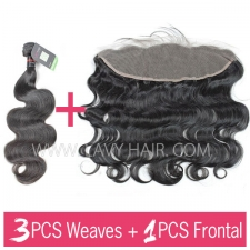 Regular Grade mix 3 bundles with 13*4 lace frontal closure Cambodian Body wave Virgin Human hair extensions