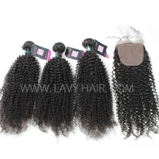 "Superior Grade mix 4 bundles with silk base closure 4*4"" Brazilian Kinky Curly Virgin Human hair extensions"