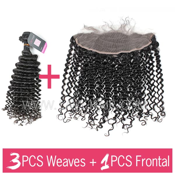 Superior Grade mix 3 bundles with 13*4 lace frontal closoure Burmese Deep Curly Virgin Human Hair Extensions