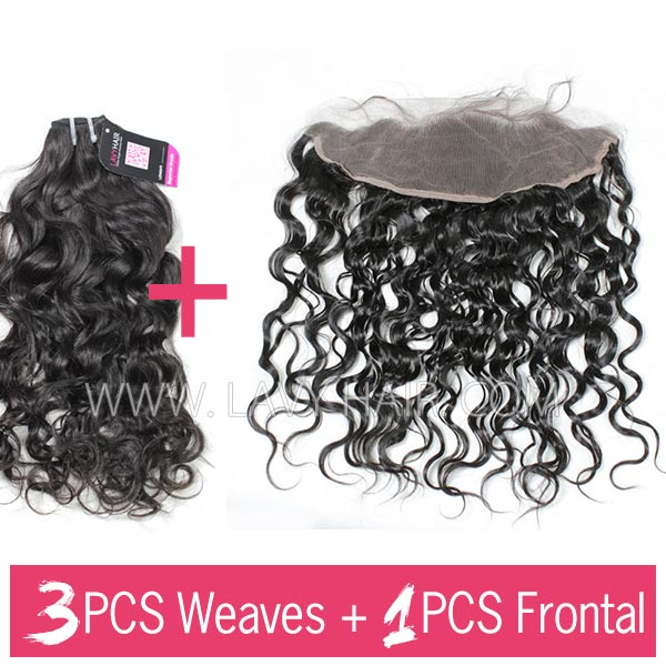 Superior Grade mix 3 bundles with 13*4 lace frontal closoure Peruvian Natural Wave Virgin Human Hair Extensions