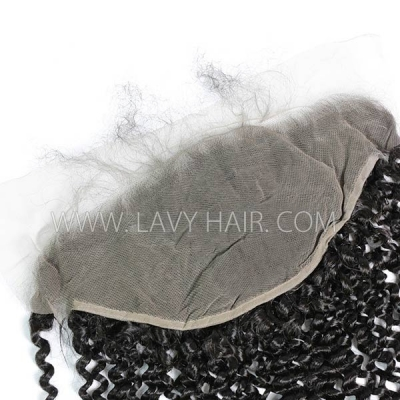 #1B Color Ear to Ear 13*6 Lace Frontal Deep Curly Human hair Swiss lace