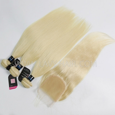 #613 Superior Grade mix 3 bundles with lace closure Peruvian Straight Virgin Human hair extensions
