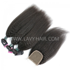 Superior Grade mix 3 bundles with lace closure Brazilian Kinky Straight Virgin Human hair extensions