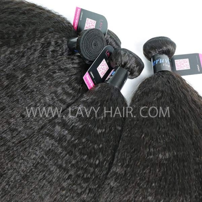 Superior Grade 1 bundle Peruvian Kinky Straight Virgin Human hair extensions