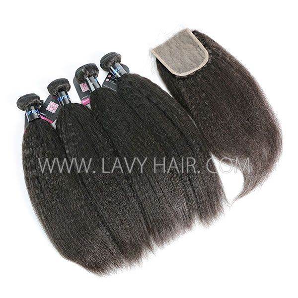 Superior Grade mix 4 bundles with lace closure Peruvian Kinky Straight Virgin Human hair extensions