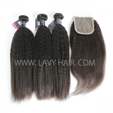 Superior Grade mix 3 bundles with lace closure Peruvian Kinky Straight Virgin Human hair extensions