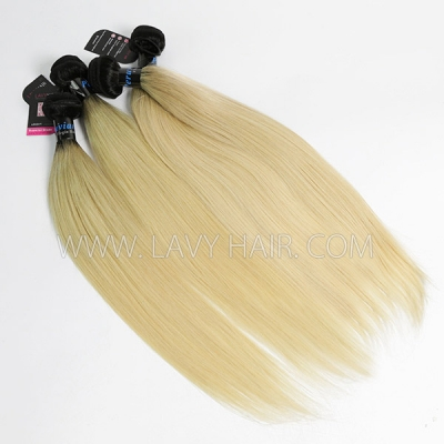 Superior Grade mix 3 or 4 bundles Perubian Straight Ombre 1B/613 Human hair extensions