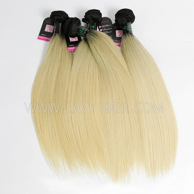Superior Grade mix 3 or 4 bundles Brazilian Straight Ombre 1B/613 Virgin Human Hair Extensions