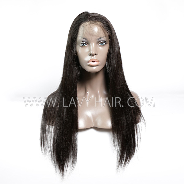 #1B Color 360 Lace Frontal Straight Human hair Swiss lace