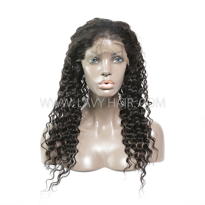 #1B Color 360 Lace Frontal Deep Wave Human hair Swiss lace