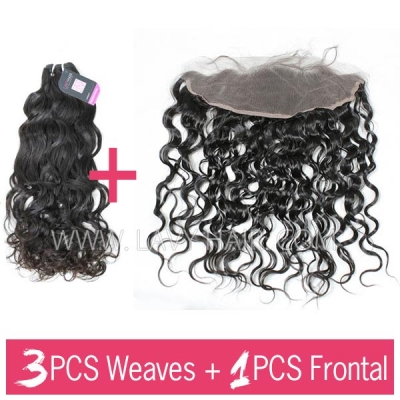 Superior Grade mix 3 bundles with 13*4 lace frontal closure Malaysian Natural Wave Virgin Human Hair Extensions