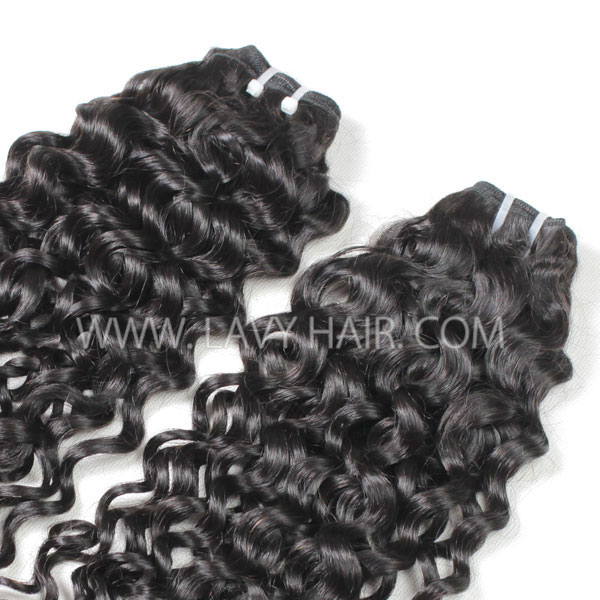 Superior Grade mix 4 bundles with lace closure Peruvian Italian Curly Virgin Human hair extensions