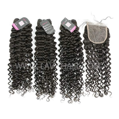 Superior Grade mix 4 bundles with lace closure Brazilian Italian Curly Virgin Human hair extensions