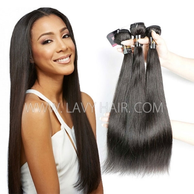 Superior Grade mix 3 or 4 bundles Indian Straight Virgin Human hair extensions