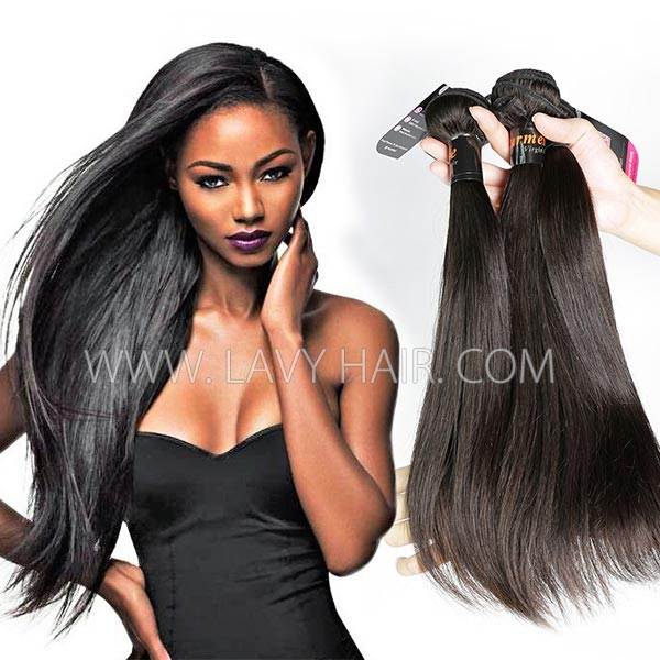 Superior Grade mix 3 or 4 bundles Burmese Straight Virgin Human hair extensions