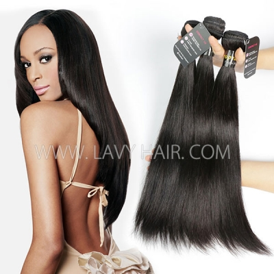 Superior Grade mix 3 or 4 bundles European Straight Virgin Human Hair Extensions