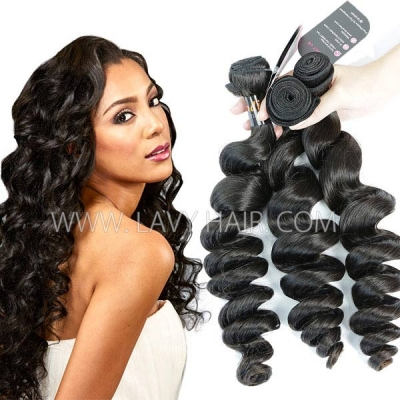 Superior Grade mix 3 or 4 bundles Indian Loose Wave Virgin Human Hair Extensions
