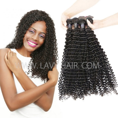 Superior Grade mix 3 or 4 bundles Mongolian Deep Curly Virgin Human Hair Extensions