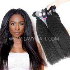 Superior Grade mix 3 or 4 bundles Peruvian Kinky Straight Virgin Human hair extensions