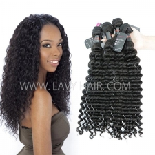 Superior Grade mix 3 or 4 bundles Cambodian deep wave Virgin Human Hair Extensions