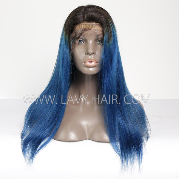 100% Human hair Ombre lace front wig straight hair 1B/Blue color