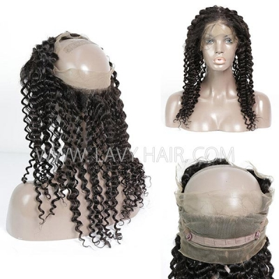 #1B Color 360 Lace Frontal Italian Curly Human hair Swiss lace