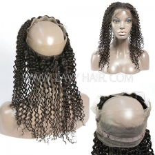 360 Lace Frontal Closure Deep Curly Human hair medium brown Swiss lace