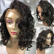 Bob Wave 180% density #1B Human Hair Full Lace Wigs FWS02