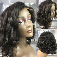Blunt Cut Wig 180% density #1B Human Hair Lace Front Wigs FWS01