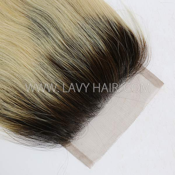 "Lace top closure 4*4"" Straight  #1B/613 Human hair medium brown Swiss lace"
