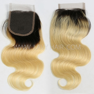 "Lace top closure 4*4"" body wave #1B/613 Human hair medium brown Swiss lace"