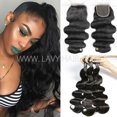Superior Grade mix 3 bundles with lace closure Indian Body wave Virgin Human hair extensions