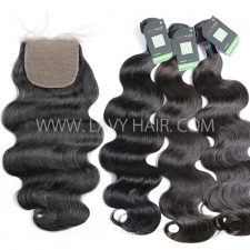 "Regular Grade mix 3 bundles with silk base closure 4*4"" Burmese Body wave Virgin Human hair extensions"