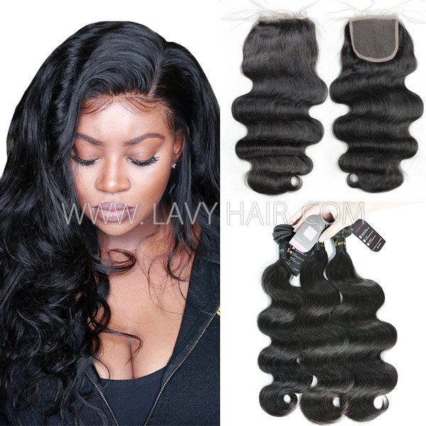 Superior Grade mix 3 bundles with lace closure European Body wave Virgin Human hair extensions