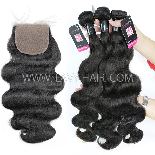 "Superior Grade mix 3 bundles with silk base closure 4*4"" Peruvian Body Wave Virgin Human hair extensions"